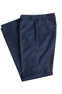 Dunkelblaue Anzughose mit Windowpane Maßbekleidung