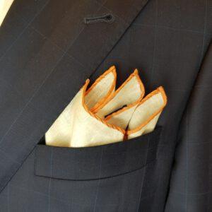 Leineneinstecktuch apricot orange Einstecktuch Leinen Pochette
