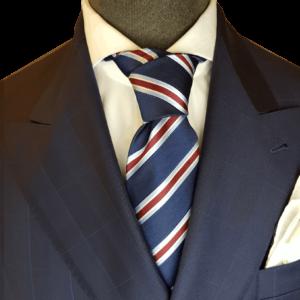 Krawatte Blau Seide mit roten Streifen