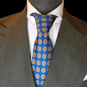 Blaue Krawatte mit Emblemen
