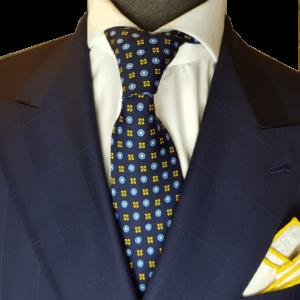 Krawatte Blau Gelb Muster Hellblau