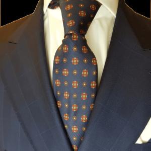Dunkelblaue Krawatte mit rotem Muster