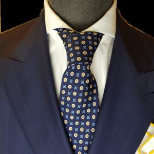 Dunkelblaue Krawatte mit Blumenmuster